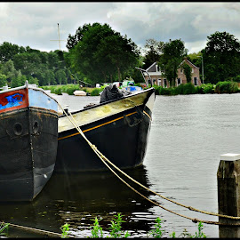 Boats at Rest by Prasanta Das - Transportation Boats ( boats, bank, rest, canal )