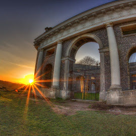 West Wycombe Mausoleum  by Pete Eley - Buildings & Architecture Statues & Monuments ( history, uk, sunset, cemetery, monument )