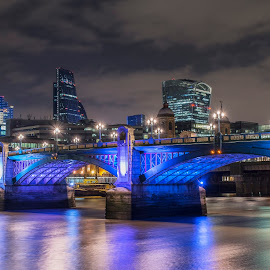 Southwark Bridge & The City by Chris Cooper-Mitchell - City,  Street & Park  Night ( city of london, skyline, london, cityscape, southwark bridge, city, nightscape, city at night, street at night, park at night, nightlife, night life, nighttime in the city )