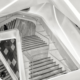 Ups and Downs by Vinod Kalathil - Buildings & Architecture Other Interior ( stairs, monochrome, black and white, seoul, architecture )