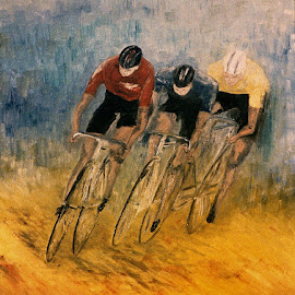 The cyclists by Bob Has - Painting All Painting ( cyclist, painting, bob has )