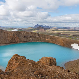 Viti Crater by Phyllis Plotkin - Landscapes Waterscapes ( clouds, water, crater, iceland, rocks )