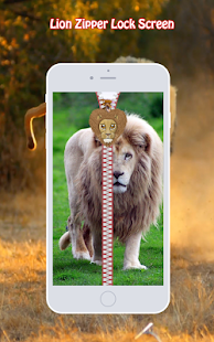 Lion Zipper Lock Screen - screenshot