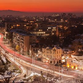 Plovdiv by DC Photos - Novices Only Landscapes ( plovdiv, lights, night photography, sunset, street, cityscape, citylights, bulgaria, nightscape )