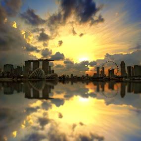 Sunset City by Alit  Apriyana - City,  Street & Park  Vistas