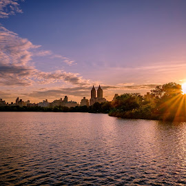Reservoir Sunset - Central Park by Will Shuck - City,  Street & Park  City Parks ( water, sunset, new york, central park )