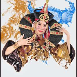 Women in traditional wear by Tsatsralt Erdenebileg - Digital Art People ( stock, national, beautiful, illustration, lady, traditional, mongolian traditional, portrait )