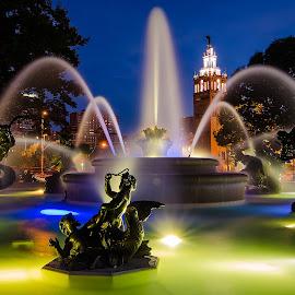 JC Nichols Fountain by Scott Jeffcote - City,  Street & Park  Fountains ( water, water fountain, tower, statue, night photography, horses, kansas city, sunset, fountain, night, plaza )