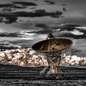 Reaching For The Stars, Black And White With Duel Tone Of Gold by Jim Moon - Artistic Objects Technology Objects ( black and white golden duel tone, radio telescope, hdr, whisper river photography, radio astronomy, jim moon, golden dish, dual tone, usa, highway 60, new mexico )