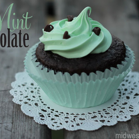 Mint Chocolate Cupcakes with Chocolate Ganache Filling