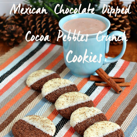 Mexican Chocolate Dipped Cocoa Pebbles Crunch Cookies