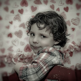 These Eyes by Chris Cavallo - Babies & Children Child Portraits ( chair, heart, red, maine, white valentine's, boy,  )