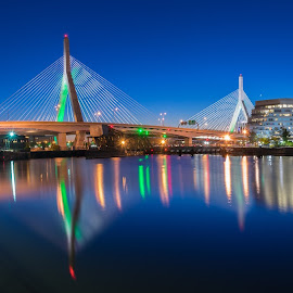 Zakim Bridge at night by Paul Gibson - City,  Street & Park  Night ( reflection, boston, buildings, bridge, panorama )