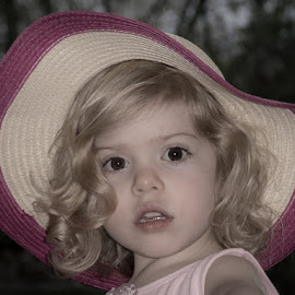 In her Easter Bonnett by Ruth Sano - Babies & Children Child Portraits ( little girl, pink hat, blonde, easter, big eyes )