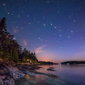 Galiano Island Stars by James Wheeler - Landscapes Starscapes ( shore, calm, galiano island, nobody, colorful, plants, travel, vibrant, beach, landscape, twinkle, island, nature, dramatic, rocks, pristine, british columbia, water, peaceful, canada, tourism, relaxation, scenic, destination, vacation, wide angle, stars, outdoor, trees, night, scenery, natural, outside )