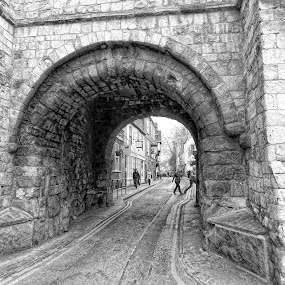 york by Kathleen Devai - Black & White Street & Candid ( monochrome, street, castle, york, people, city )