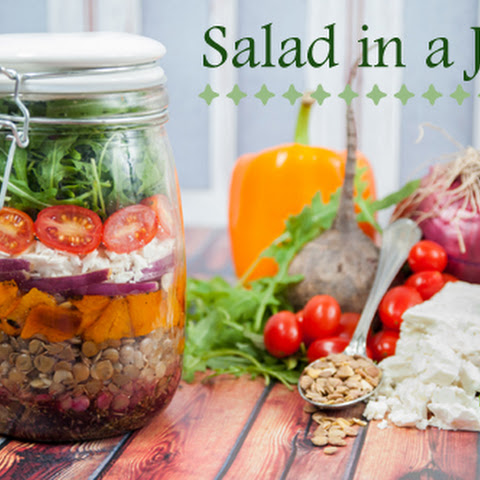 Salad in a Jar with Lentils and Feta Cheese
