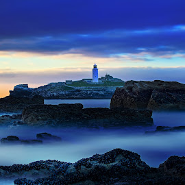 Moody Blues by Tony Simcock Eadie - Landscapes Waterscapes ( blue, sunset, sea, moody, long exposure, seascape, rocks,  )