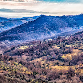 Tuscan Winter by Angela Higgins - Landscapes Mountains & Hills