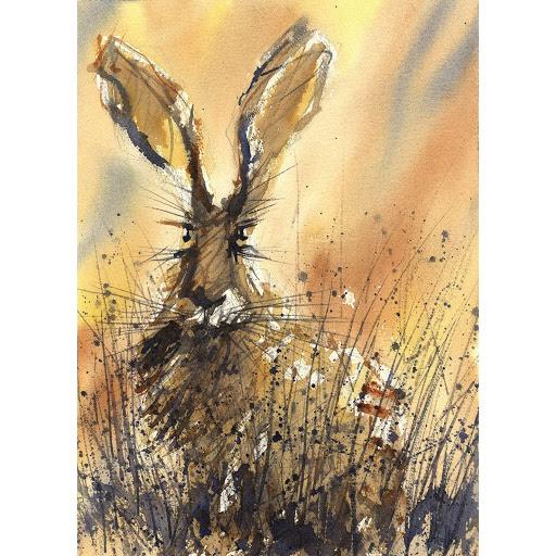 Rabbit hare picture art print British wildlife painting