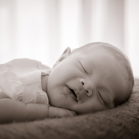 Sweet Dreams by Erika Fisher - Babies & Children Babies ( sleeping baby, newborn photography, smiling baby, black and white, dreaming baby )