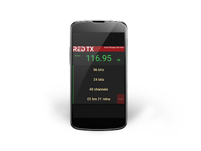 Red-TX Audio Storage Calc - screenshot