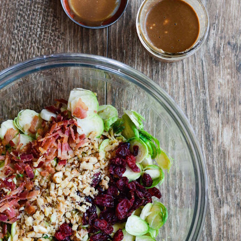 Brussels Sprouts Cranberry Salad with Greek Yogurt Vinaigerette