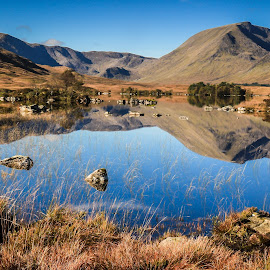 Rannoch Moor by Mandy Hedley - Landscapes Mountains & Hills ( mountains, autumn, moor, fall, lake, rocks, rannoch )