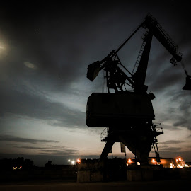 Crane in the night sky by Dennis Nieling - Buildings & Architecture Bridges & Suspended Structures ( lights, industrial, late, night, crane, landscape )