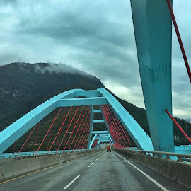 Blue Bridge by Wan Loy Yeong - City,  Street & Park  Vistas ( red, xiulin, blue, taiwan, blue bridge, suspension,  )