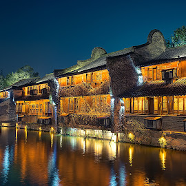 water village by Crispin Lee - Buildings & Architecture Homes ( water, night, house, architecture, china )