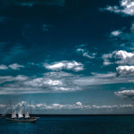 The ship by Fraya Replinger - Transportation Boats ( clouds, blue, ship, lake, boat )