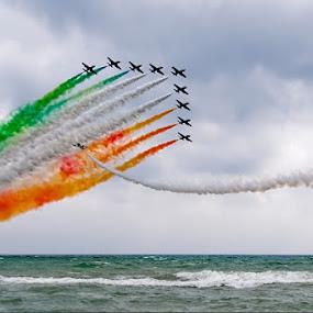 Italian National Aerobatic by Fabio Ponzi - Transportation Airplanes ( red, green, airplane, white, sea, aerobatic, italy, airshow )