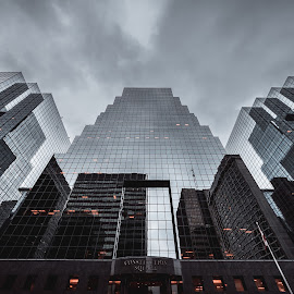 Intimidating by Marc-Olivier Jodoin - Buildings & Architecture Office Buildings & Hotels ( clouds, lights, sky, buildings, symmetry, wide )