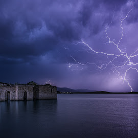 Drowned and lighted by Ruslan Asanov - Landscapes Weather ( lightning, church, zhrebchevo, night, lake, drowned, bulgaria )