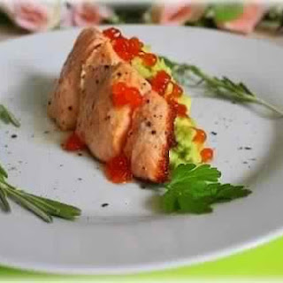 Grilled Salmon With Avocado And Red Caviar