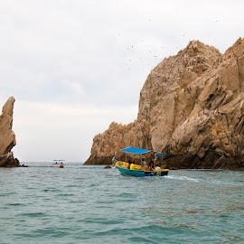 Around the Rocks by Jeff Lebovitz - Landscapes Waterscapes ( water, cabo, boats, landscape, rocks )