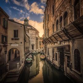 Rio della Maddalena by Ole Steffensen - City,  Street & Park  Historic Districts ( venezia, rio della maddalena, church, boats, venice, italy, canal )