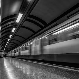 underground by Simon Wood - Transportation Trains ( canon, eos, london, sigma, handheld, speed, tube, sewer, train, long exposure, fast, underground )