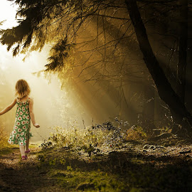 Poppy in the Woods by Anthony Wood - Babies & Children Children Candids ( child, walking, girl, sunbeams, woods )