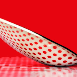 dotty by Kevin Towler - Artistic Objects Cups, Plates & Utensils ( spots, reflection, macro, red, single, utensil, metal, still life, spoon, close up )