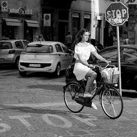 Girl on a Bicycle by Mick Wells - Transportation Bicycles ( florence, girl, black and white, summer, italy, bicycle,  )