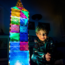 Light Tower by Mike DeMicco - Babies & Children Child Portraits ( colorful, bright, children, cute, glow, portrait, kid, child, tiles, sweet, mag, magna-tiles, dark, night, proud, magnet, boy )
