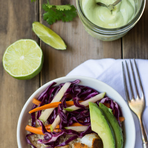 Fish Taco Lunch Bowls with Avocado Lime Dressing