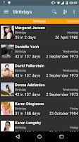 Screenshot of Birthdays
