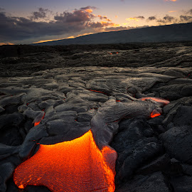 Golden Hour Lava  by Jared Goodwin - Landscapes Caves & Formations ( hills, mountain, sunrises, blue skies, rock, volcanic, landscape, heat, mountains, blue sky, volcano, sunsets, sunrays, cloudy, sunshine, rocks, hawaii, golden hour, clouds, orange, hill, cloudscape, paradise, pali, fire, blue, lava, sunset, cloud, molten, volcanoes, sunrise, landscapes, golden )