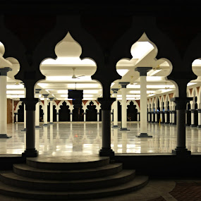 A Mosque. by Marcel Cintalan - Buildings & Architecture Places of Worship ( lights, mosque, place of worship, night, malaysia, kuala lumpur )