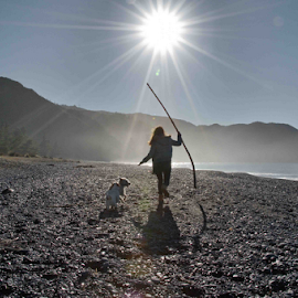 Beach Scene by Winkie Chau - People Street & Candids ( playing, foggy, girl, beach, dog,  )
