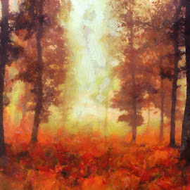 Misty Sunrise by Luke Walker - Painting All Painting ( red, nature, fall colors, art, fall, trees, oil art, painting, mist,  )