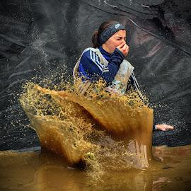 Splish Splash Wet ! by Marco Bertamé - Sports & Fitness Other Sports ( water, differdange, splash, splatter, 2015, soup, waterdrops, luxembourg, sliding, mud, strong, woman, dirty, drops, lady, brown, strongmanrun )